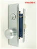 Maxtech (Marks 114A/26D Like) Left Hand, Wide Face Plate, Heavy Duty Satin Chrome 26D Mortise Entry Lockset, Screwless Knobs Thru Bolted Lock Set