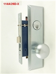 Maxtech (Marks 114A/26D Like) Right Hand, Wide Face Plate, Heavy Duty Satin Chrome 26D Mortise Entry Lockset, Screwless Knobs Thru Bolted Lock Set