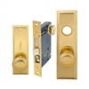 Maxtech (Marks 114A/3-X Like), Polished Brass, Wide Face Plate, Right Hand, Heavy Duty Mortise Entry Lockset, Screwless Knobs Thru Bolted Lock Set