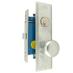 Maxtech (Marks 114DW/26D-X Like), Satin Chrome 26D, Wide Face Plate, Right Hand, Heavy Duty Mortise Lock Knob Vestibule Function Always Locked Storeroom Latch Only Lockset, Screwless Knobs Thru Bolted Lock Set