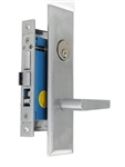 "Maxtech (Marks Metro 116A/26D-X Like) Satin Chrome 26D, Wide Face Plate, Right Hand Entrance, Heavy Duty Mortise Entry Screwless Lever Lockset Thru Bolted, 2-1/2"" Lock Set"