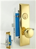Maxtech (Marks 91X Like) Right Hand, Satin Chrome & Brass, Heavy Duty Wide Mortise Entry Lockset Screwless Lever & Knob Thru Bolted, Lock Set