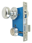 "Maxtech (Marks 22AC/26D-W-RHR Like), Satin Chrome 26D, Right Hand, Ornamental Knobe Rose Mortise Entry Lockset Iron Gate Door Double Cylinder Lock Set, 2-1/2"" Backset, 1"" X 7-1/8"" Faceplate"