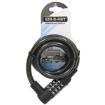 "Em-D-Kay 2471 Vinyl Sleeved 7/16"" x 40"" Steel Cable Bike Lock With 4 Dial Combination Padlock"