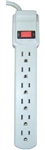 Bright Way, MP6HDJ, White, 6 Outlet Surge Protector, 2.5' Foot Cord, 735 Joules