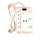Bright Way, MP8USB, 8 Outlet Surge Protector, 4' Foot Cord, 2 USB Ports, 1200 Joules