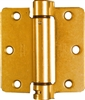 "National, N185-199, 3-1/2"" x 3-1/2"", Brass Adjustable Spring Hinge, Round Corner"