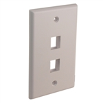 "Quest NFP-1028 White 2 Port Keystone Double Gang Keystone Wall Plate For CAT5E RJ45 Inline Coupler 4.5"" x 2.75"" x 0.25"""