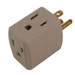 Powtech PT-7833AA Ivory 15A 125V 1875W Grounded Triple Cube Adapter NEMA 5-15R