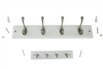 "Stanley S804-344 Decorative 18"" Satin/white Hook Rail Coat Rack Utility Storage 4 Flared Top Hooks + 9"" Combo"