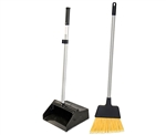 "Tuff Stuff Janitorial TSJLDP12SET Lobbymaster, Black, 12"" Wide Opening Plastic Lobby Dust Pan Aluminum Handle With Handy Clip and Broom Combo Set"
