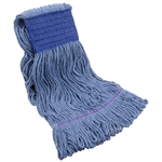 Tuff Stuff WMHL24B Blue Wet Mop Head Loop End 24 OZ. Wide Band Polybag