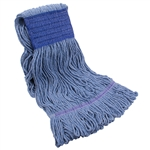 Tuff Stuff WMHL32B Blue Wet Mop Head Loop End 32 OZ. Wide Band Polybag