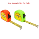 "Tuff Stuff 91612 Orange and Green Neon Color 5/8"" X 12' Power Tape Measure Rule (1 Assorted Color Per Order), A two rivet end hook can stand up to repeated use, Ideal for measuring materials and distances up to 12 ft."