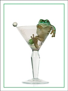 1167 BD Frog in martini glass