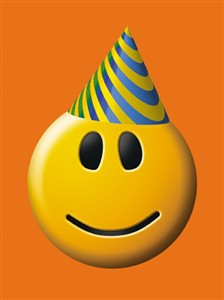 1176 BD Smiley with party hat