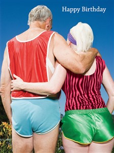 1368 BD Senior couple, hot pants