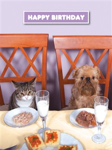1374 BD Cat, dog at dinner table