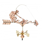 Fisherman Copper Weathervane - Copper Ornamental Wind Instrument