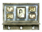 Wooden Wall Shelf With Hooks and Picture Frames