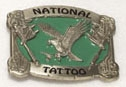 National Tattoo Belt Buckle BRASS/GREEN