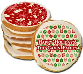 "Holiday Greeting 3.5"" Round Cookies, Personalized"