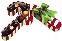Chocolate Holiday Truffles - Candy Cane Gift Box