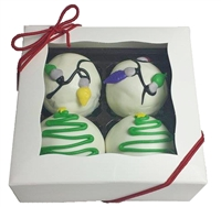 Cake Truffles Holiday Designs, Gift Box of 4