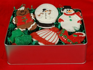 Hand Dec. Holiday Cookie Gift Tin