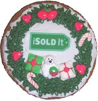 Hand Dec. Wreath Cookie Personalized, EA