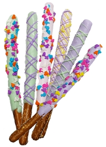 Pretzel Rods Dipped Easter Theme