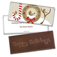 Personalized Holiday Candy Bar - Winter Birds