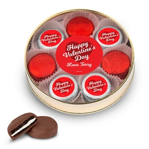 Personalized Valentine's Day Script Heart Gift Box, 8 Chocolate Covered Oreos