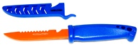 "4"" Bait Knife Blue Handle Orange Blade"