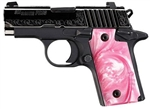 Sig Sauer P238 Polished Engraved Slide Pink Pearl Grips .380ACP