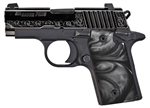 Sig Sauer P238 Polished Engraved Slide Black Pearl Grips .380ACP