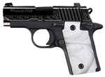 Sig Sauer P238 Engraved Slide White Grips Night Sights .380ACP