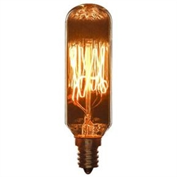 40T8/AQ/T/SM/C 40 Watt Antique Radio Style T8, E-12 Base, Candelabra Base, Smoke,#02031-SU, Antique Replica light bulb