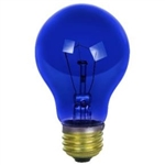 25A19/TRANSPARENTBLUE/120V 25 WATT BLUE A19 E26 BASE, 25A19TB, A19TB25, 25 WATT TRANSPARENT BLUE A19 MEDIUM BRASS BASE 120 VOLT