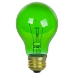 25A19/TRANSPARENTGREEN/130V 25 Watt Green A19 E26 Base, 25A19TG, 25 Watt Transparent Green A19, Transparent Green A19, Green Colored A19
