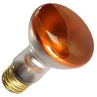 50R20FL/AMBER/130V E26 BASE, AMBER FLOOD, AMBER R20 FLOOD, 50 WATT R20 AMBER FLOOD, COLORED BULBS
