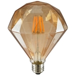 Sunlite 80459-SU | FLATDIAMOND/LED/AQ/6W/DIM/AMBER/22K,#80459,#80459-SU, LED Amber Diamond Antique Vintage Style Bulb, LED Filament Antique Bulb
