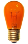 11S14/TORANGE/130V/3M 11 Watt Transparent Orange S14 130 Volt E26 Base, 11S14T Orange, 11S14-Torange, 11S14-TO, Transparent Orange S14, 11 WATT Transparent Orange S14 Medium Brass Base 130 Volt