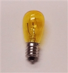 6S6/YELLOW/130V MINIATURE BULB E12 BASE, 6S6/YELLOW, 6S6-YELLOW, 6 WATT S6 TRANSPARENT YELLOW CANDELABRA BASE 130 VOLT