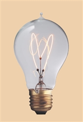 40A19/E26/VIC 120V 40 WATT CARBON FILAMENT A19 BULB E26 BASE, VICTORIAN REPLICA CARBON FILAMENT BULBS, CARBON FILAMENT LAMPS,  ANTIQUE STYLE LIGHT BULB, ANTIQUE STYLE LIGHT BULBS, ANTIQUE REPLICA LIGHT BULBS