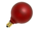 15G16-1/2E12/RUBY/130V RUBY DEEP COLOR GLOBE E12 BASE, RUBY RED G16.5 GLOBE, DEEP COLOR GLOBE BULB, DECORATIVE COLORED GLOBE BULBS, 15 WATT G16.5 RUBY RED GLOBE BULB CANDELABRA BASE