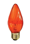 25 WATT LIGHT AMBER F15 FLAME BULB 130 VOLT E26 BASE