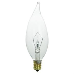 7.5FTIP/CL/120V/3M Clear Flame Tip E12 Base, 7 1/2C9 1/2, 7.5CFC, 7.5 Watt Clear Flame Tip Candelabra Base 120 Volt,S4988,#S4988, Satco #S4988