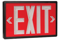 Tritium Exit Sign Red & Black 10 Year 2 Sided, SLXTU2RB10,SELF-POWERED EXIT, SELF LUMINOUS, TRITIUM EXIT SIGNS, NON ELECTRIC EXITS SIGNS, NON-ELECTRIC, GLOW IN THE DARK EXIT SIGNS, NUCLEAR EXIT SIGNS, RADIOACTIVE EXIT