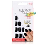 Elegant Touch Polished Black False Fake Flexible High Gloss Artificial Nails